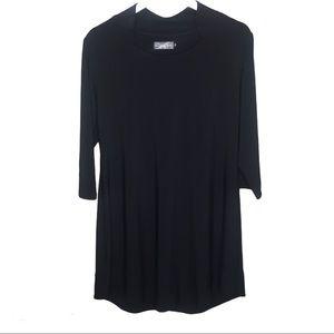SYMPLI CANADA Long Sleeve Tunic Blouse Black Sz 16